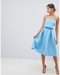 ASOS DESIGN - Bandeau Crop Top Prom Midi Dress - Lyst