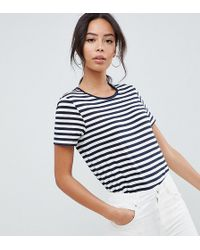 9749c87dbca92 ASOS Nursing T-shirt With Double Layer In Wide Stripe in Blue - Lyst