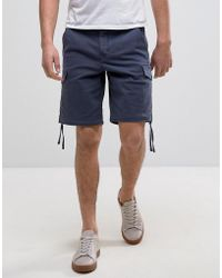 Pretty Green | Vale Cargo Shorts In Navy | Lyst