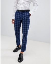 ASOS - Wedding Skinny Suit Trousers In Tonal Blue Check - Lyst