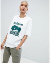 adidas Originals - Adventure Oversized T-shirt In White - Lyst