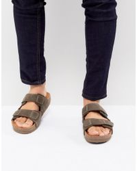 Eastland - Caleb Double Strap Suede Sandals In Brown - Lyst