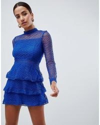 AX Paris - Long Sleeve Crochet Lace Mini Dress With Tiered Skirt - Lyst