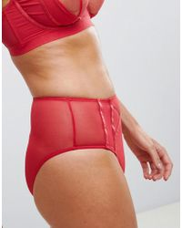 Wolf & Whistle - Sheer Mesh High Waisted Brief In Red - Lyst