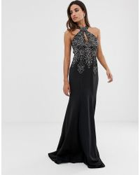 Jovani - Halterneck Fitted Maxi Dress With Embellished Detail - Lyst