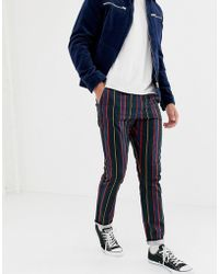ASOS - Slim Trousers With Elasticated Waist In Collegiate Stripe - Lyst