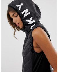 DKNY - Doudoune sans manches avec capuche logo - Lyst
