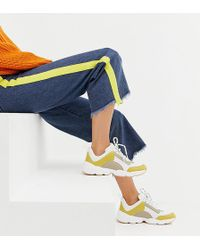 Monki - Chunky Trainers In Beige And Yellow - Lyst