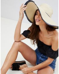 French Connection - Sun Hat With Frayed Navy Trim And Tassle - Lyst