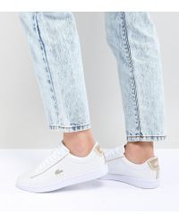 Lacoste - Carnaby Evo 118 Trainers White With Gold Trims - Lyst