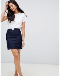 ASOS - Denim Corset Skirt In Dark Wash - Lyst