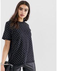ASOS - T-shirt oversize con cristalli - Lyst
