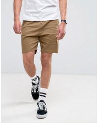 Bershka | Slim Fit Chino Shorts In Tan | Lyst