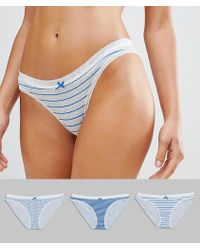 68e6b26e96 Pepe Jeans - 3 Pack Knickers In Stripe And Spot - Lyst