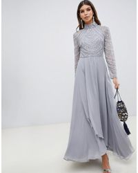 ASOS - Maxi Dress With Long Sleeve Embellished Bodice - Lyst