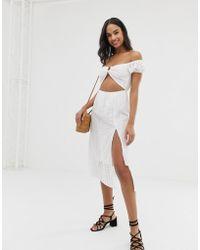 0a5cb2d23a2 Fashion Union - Paella Cold Shoulder Beach Dress In White - Lyst