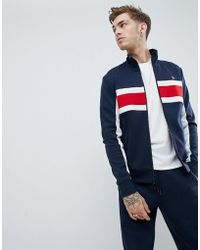 Original Penguin - Chest Block Stripe Tricot Track Jacket In Navy - Lyst