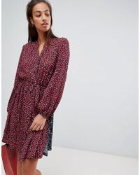French Connection - Tie Waist Shirt Dress In Obine Floral - Lyst