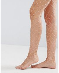 ASOS - Oversized Fishnet Tights In Pink - Lyst