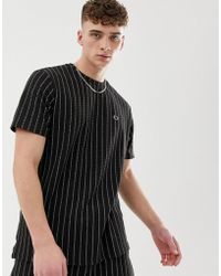 Criminal Damage - Co-ord Oversized T-shirt In Black With Pin Stripe - Lyst