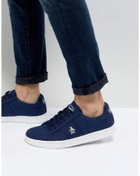 Original Penguin - Stedaman Canvas Trainers In Navy - Lyst