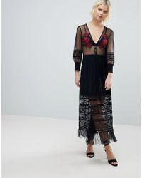RahiCali - Scarlett Embroidered Midi Dress - Lyst