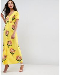 ASOS - Maxi Tea Dress With Open Back In Floral Print - Lyst
