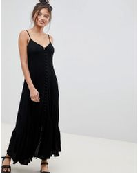 ASOS - Button Through Maxi Dress In Crinkle - Lyst