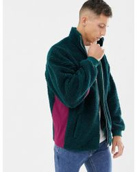 ASOS - Oversized Track Jacket In Borg Green With Rib Panels - Lyst