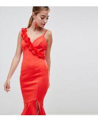 ASOS - Asos Design Petite Corsage Strap Pephem Midi Dress - Lyst