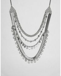ASOS - Design Coin And Disc Multirow Necklace - Lyst