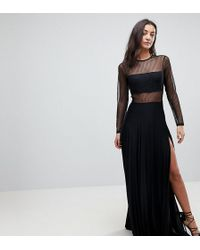 ASOS - Pleated Dobby & Lace Top Long Sleeve Maxi Dress - Lyst