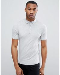 New Look - Muscle Fit Polo Shirt In Grey - Lyst
