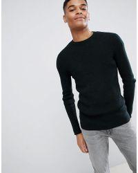 New Look - Ribbed Dark Green Sweater - Lyst