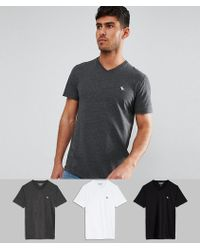 Abercrombie & Fitch | 3pack T-shirt Vneck Muscle Slim Fit In Black/white/gray Save 25% | Lyst