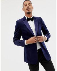 ASOS Skinny Tuxedo Blazer In Navy Velvet
