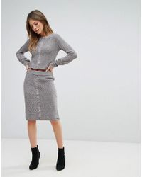 Bellfield - Sanna Rib And Cable Mix Bodycon Skirt - Lyst