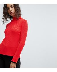e0d7fae37dab7 ASOS Asos Sweater In Rib With Wrap Detail in Red - Lyst