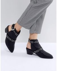 Miss Selfridge - Backless Studded Western Ankle Boots - Lyst