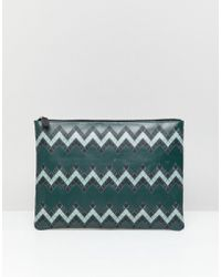 ASOS - Leather Large Pouch In Green With Zig Zag Print - Lyst