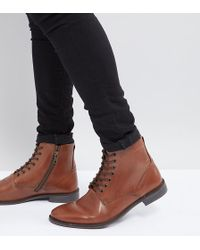 ASOS - Wide Fit Casual Lace Up Boots In Tan Leather With Natural Sole - Lyst