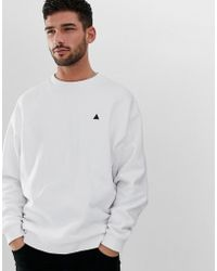 8052d053b3 ASOS - Oversized Sweatshirt In White With Triangle Print - Lyst