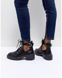 Pull&Bear - Cut-out Lace Up Chunky Heel Boot - Lyst