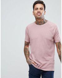 Bershka - Textured Knit T-shirt In Pink - Lyst