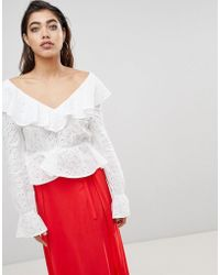 Ivyrevel - Blouse In Anglais Lace With Deep V Back And Frills - Lyst