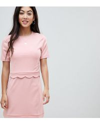 ASOS - Asos Design Petite Scalloped Hem Mini Dress With Crop Top - Lyst