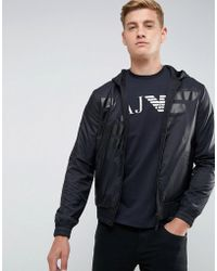 Armani Jeans - Mixed Fabric Large Eagle Zip Through Hooded Sweat - Lyst