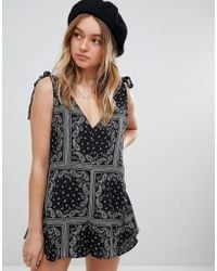 Honey Punch - Swing Playsuit In Bandana Print - Lyst