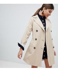 Missguided - Classic Trench Coat In Stone - Lyst