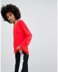ASOS - T-shirt With Longline Sleeve In Lightweight Jersey - Lyst